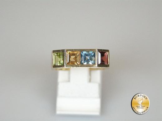 Ring; 14 Karat Gold mit Farbsteinen