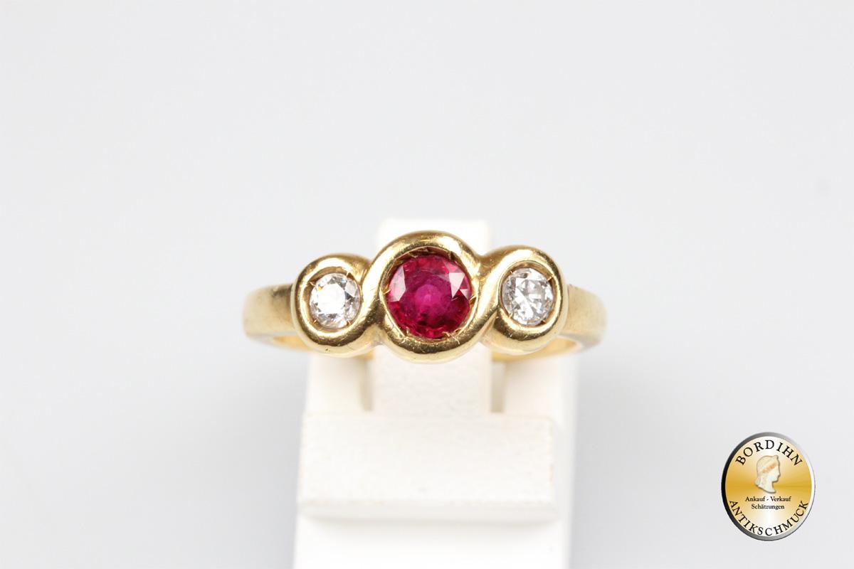 Bandring 18 Karat Gold Rubin Brillant Ring Goldring Schmuckring antik