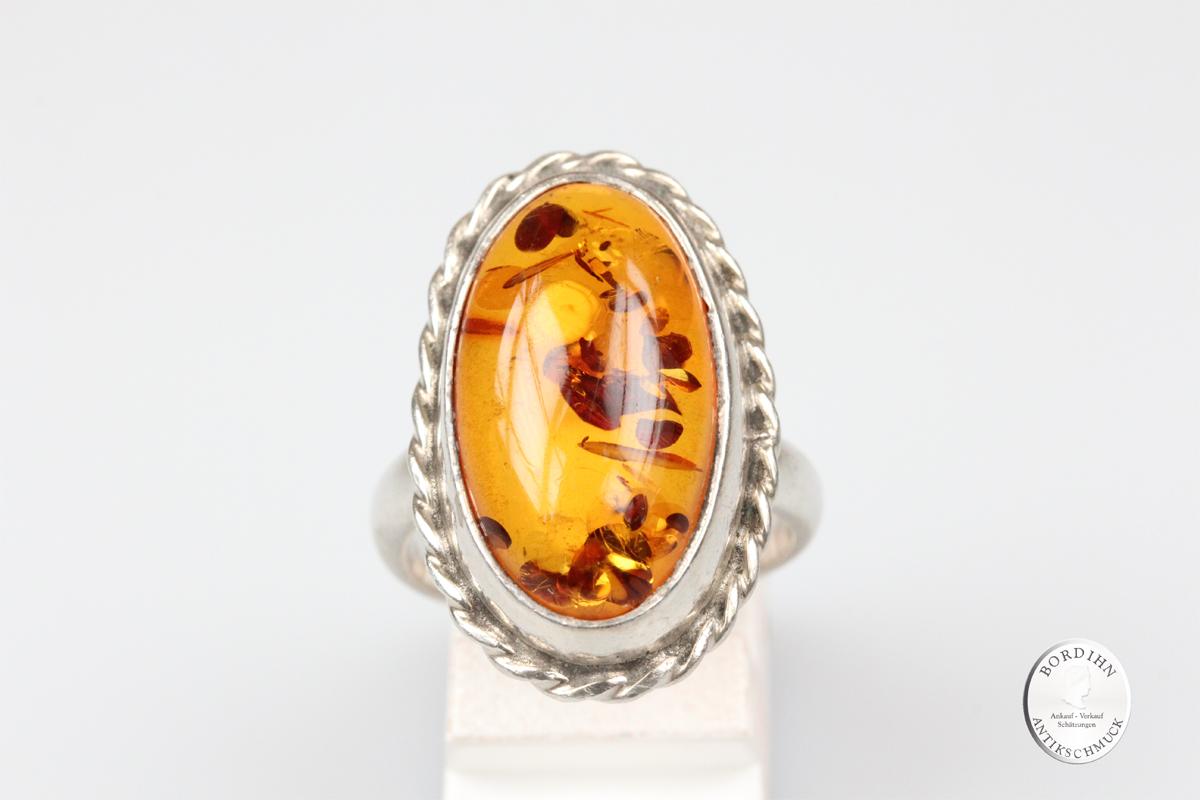 Ring Silber mit Bernstein Schmuckring Fingerring Schmuckring antik
