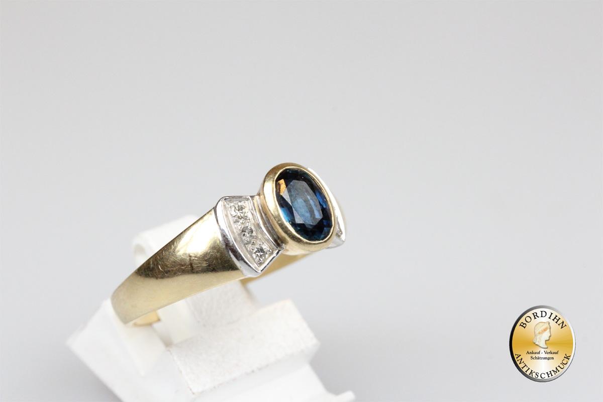 Ring; 14 Karat Gold, 1 Saphir, 6 Brillanten