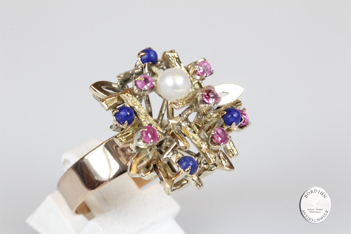 Ring 14 Karat Gold Lapislazuli Rubin Perle Goldring Schmuckring Damen