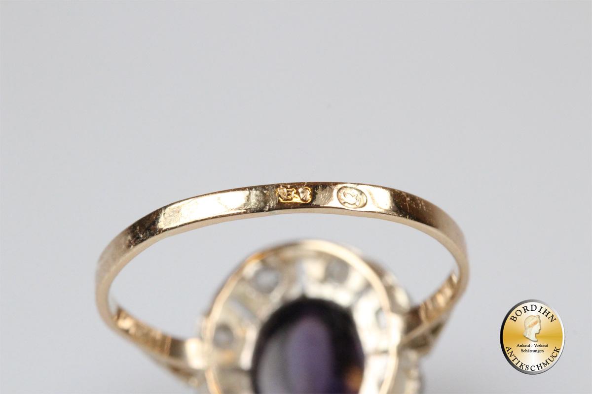 Ring 14 Karat Gold 8 Diamanten 1 Amethyst Goldring Edelsteine Schmuck