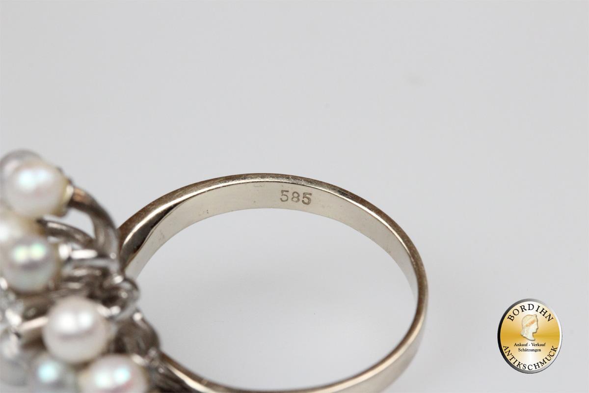 Ring;14 Karat  Weissgold, 12 Perlen, 1 Brillant