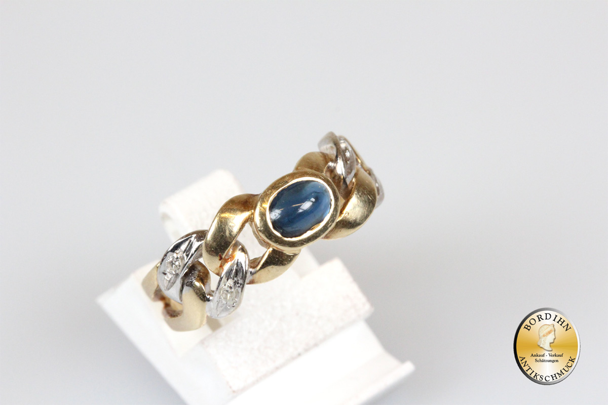 Ring; 14K Gold mit einem Saphir und Brillanten