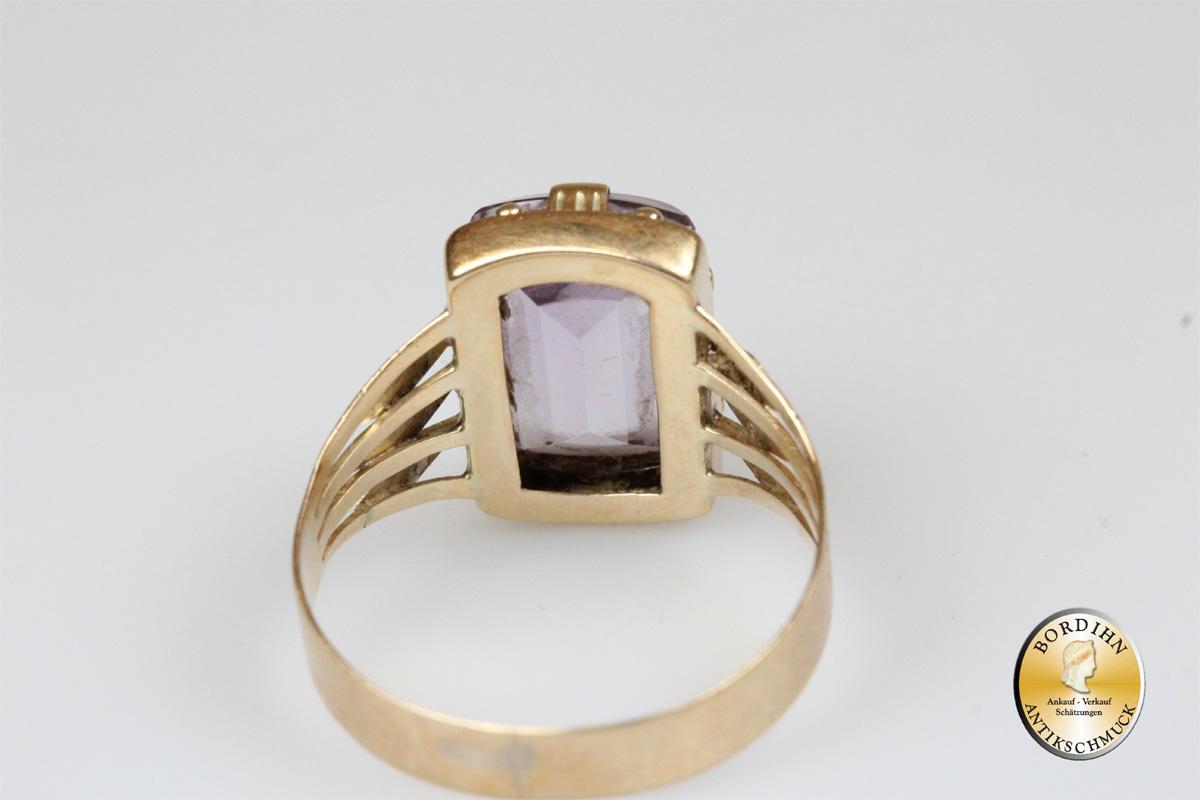 Ring; 14 Karat Gold, mit Amethyst