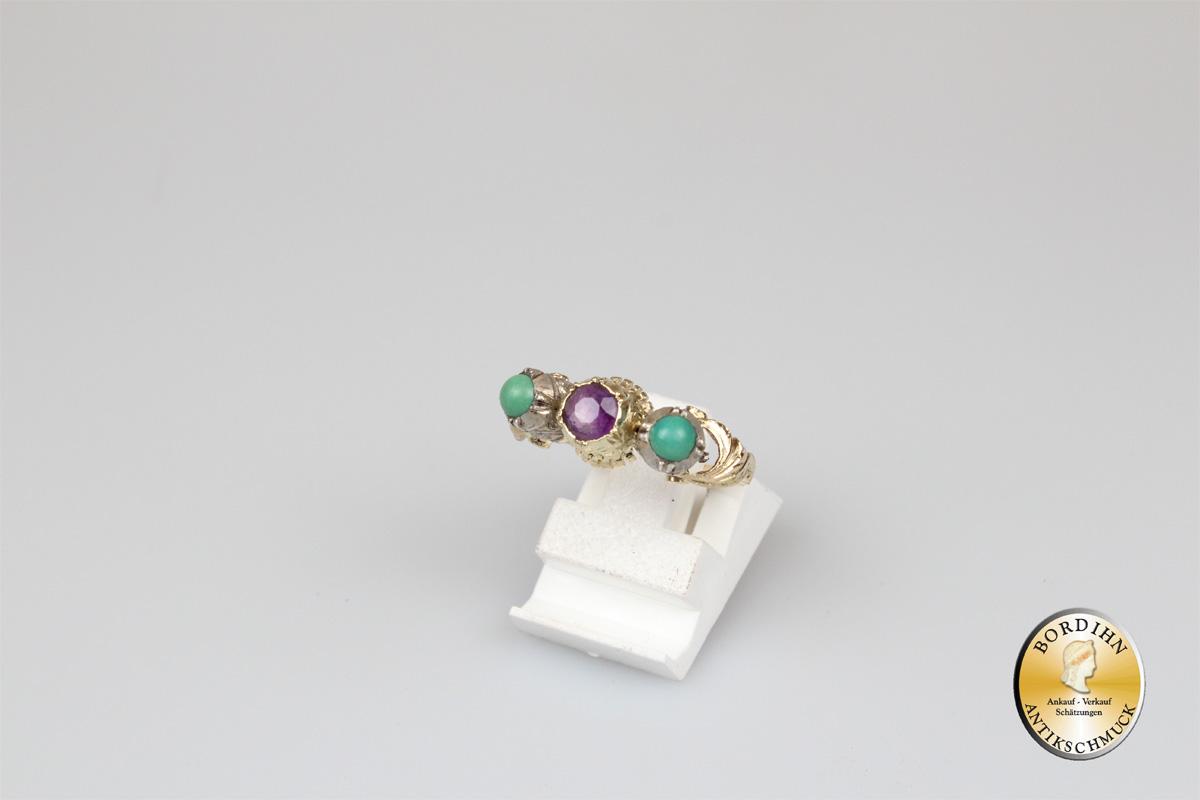 Ring; 14 Karat Gold mit Amethyst und Türkis, antik