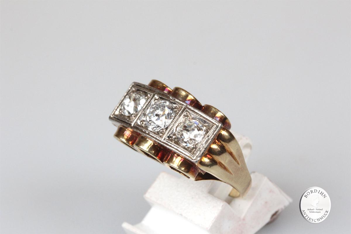 Ring 14 Karat Gold drei Brillanten Goldring Schmuckring Edelsteine