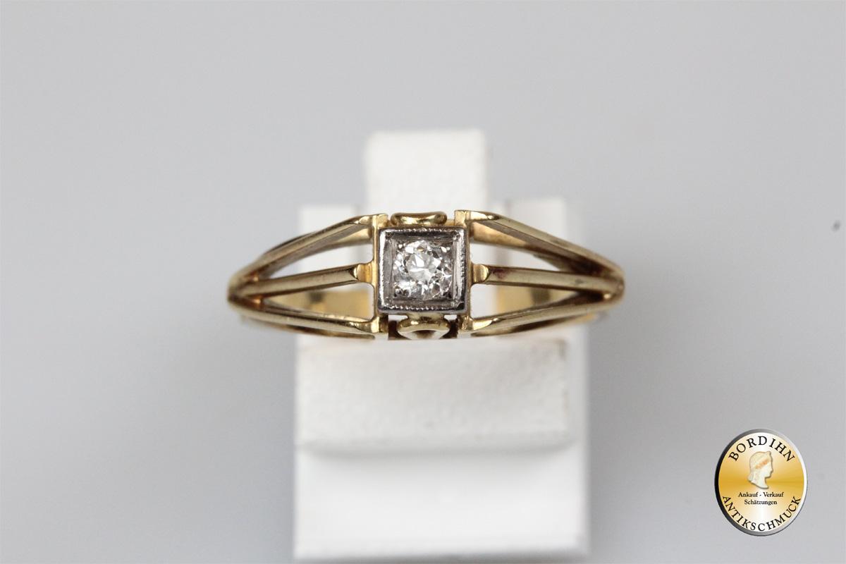 Ring 14 Karat Gold 1 Brillant Brillantring Goldschmuck Geschenk