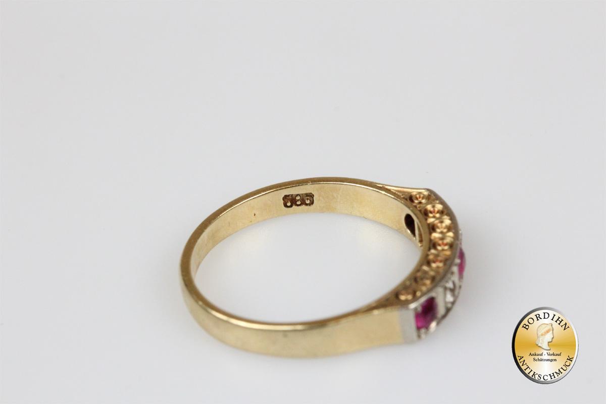Ring 14 Karat Gold Brillanten Rubine antik Fingerring Damen Schmuck
