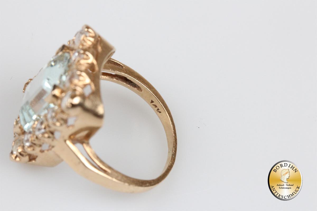 Ring; 14 Karat Gold mit Goshenit und Aquamarin