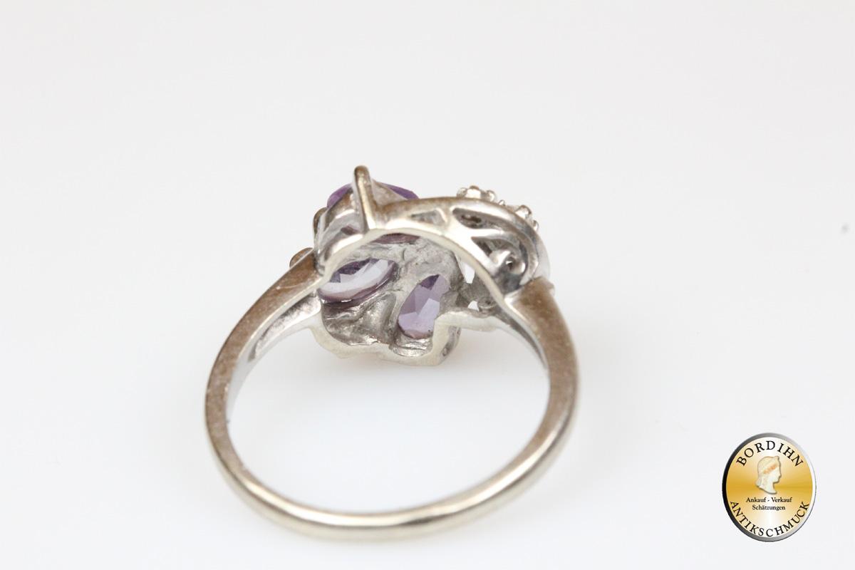 Ring; 14 Karat Gold, Amethyst, Farbsstein