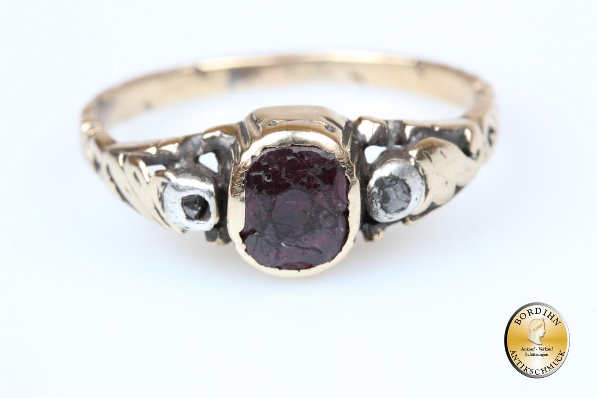 Gold Und DiamantAntik Ring; Mit 14 Granat Karat mvNn08Owy