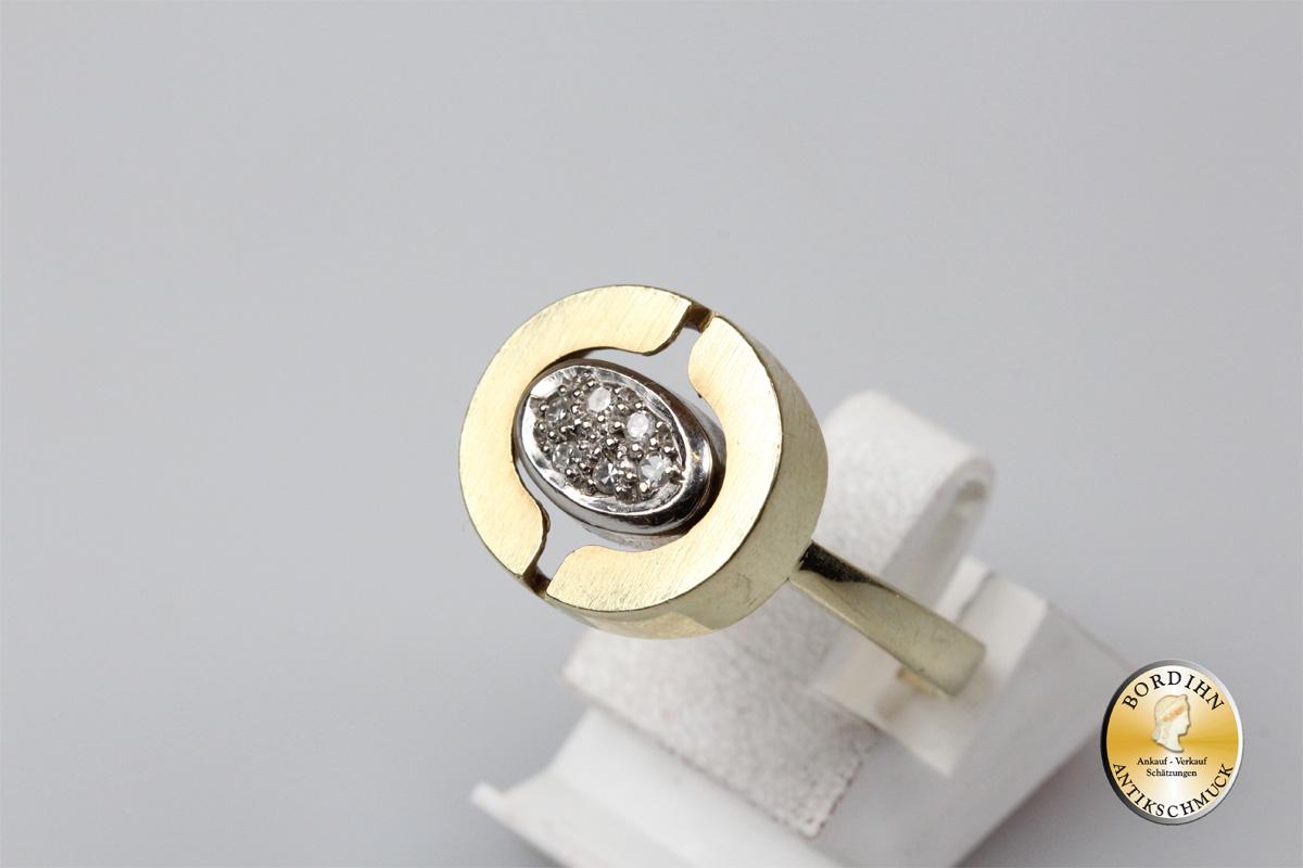 Ring 14 Karat Gold 6 Brillanten Weißgold Gelbgold Schmuckring Brillant