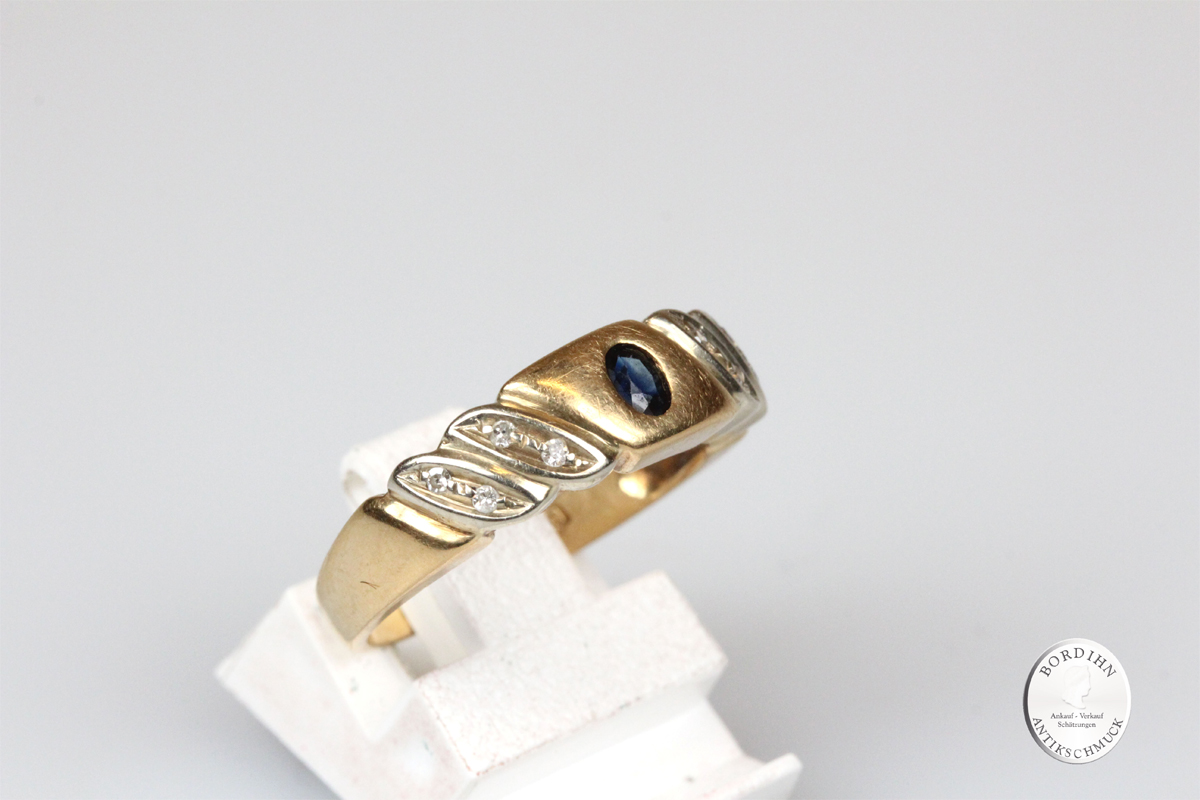 Ring 18 Karat Gold Saphir 8 Brillanten Schmuckring Damenring Schmuck