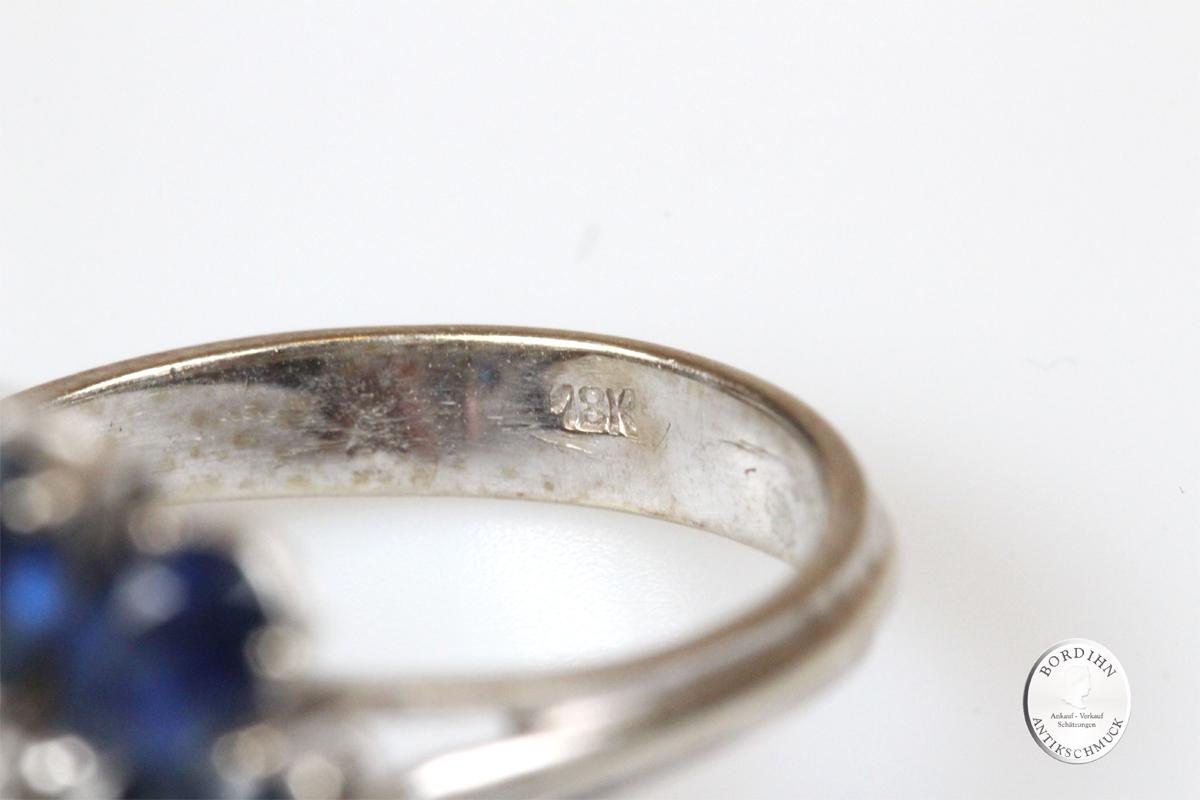Ring 18 Karat Weißgold Brillant Saphir Cluster Goldring Edelsteine