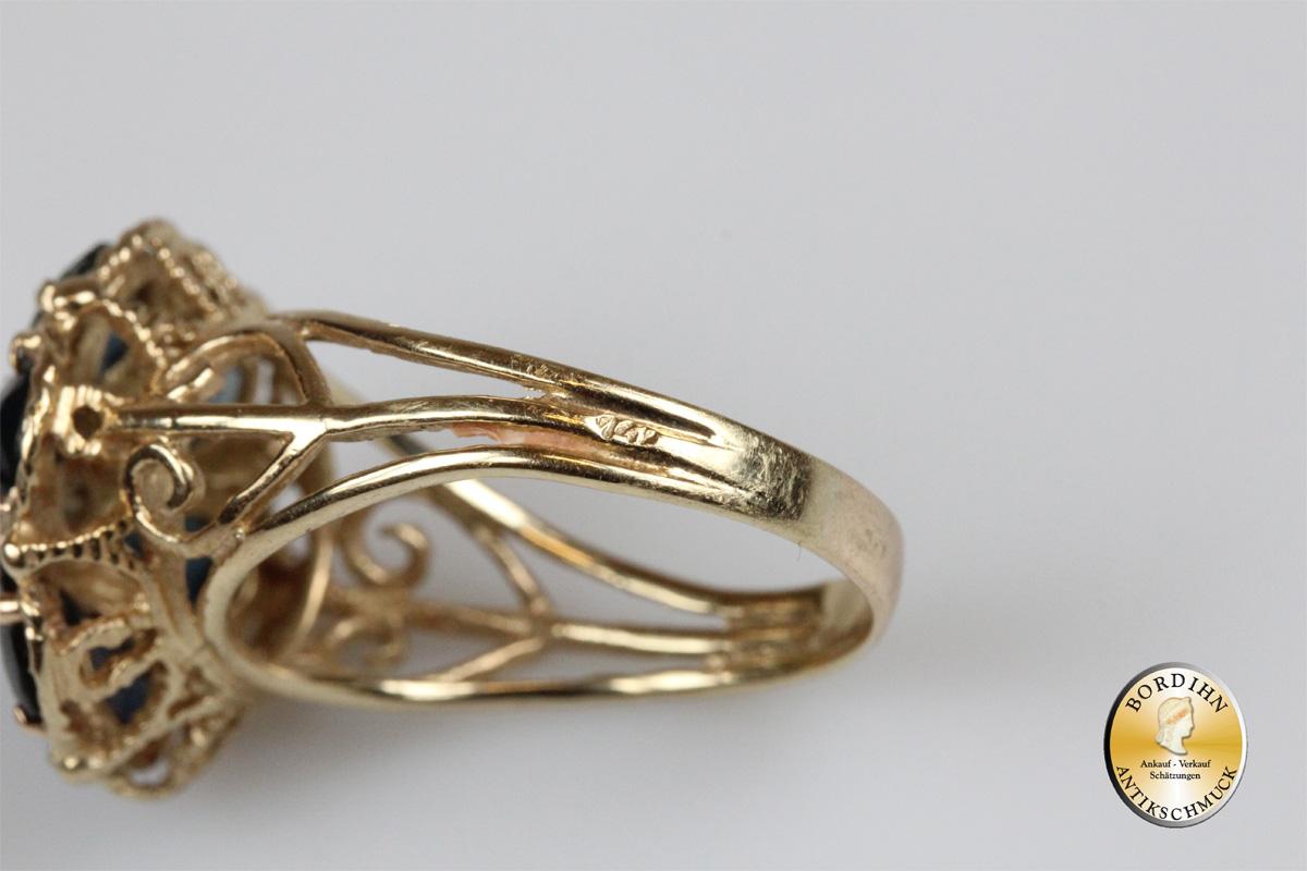 Ring 14 Karat Gold mit Saphiren Goldring Schmuckring Saphir Schmuck