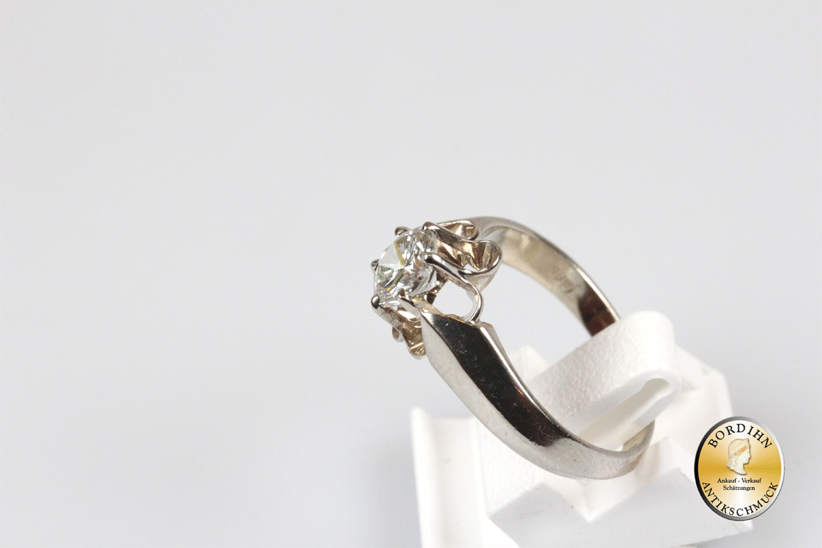 Ring 14 Karat Gold ein Brillant 0,95ct Brillantring Edelstein Schmuck