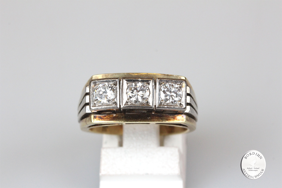 Ring 14 Karat Gold 3 Brillanten Schmuckring Goldring Edelsteine antik