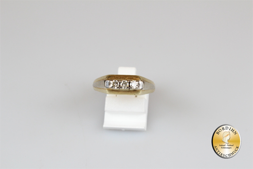 Ring; 14 Karat Gold mit Brillanten