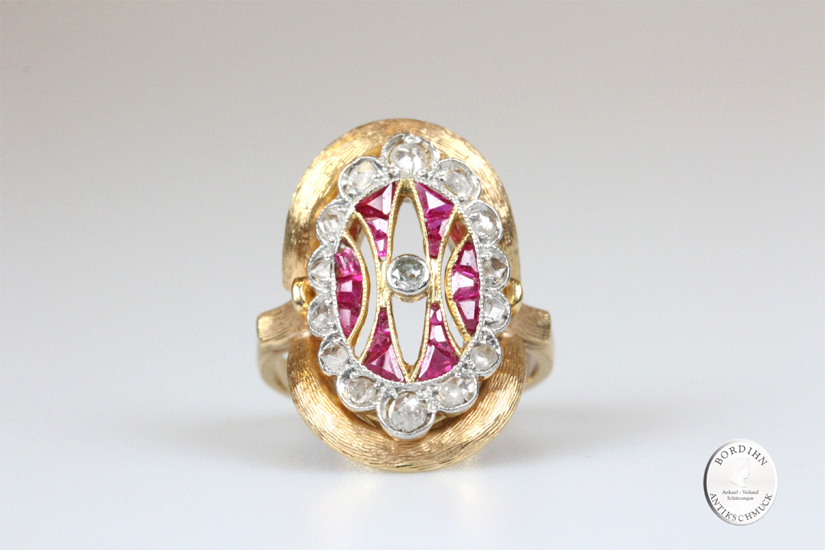 Ring 18 Karat Gold Diamant Rubin Schmuckring Goldring Damenring antik