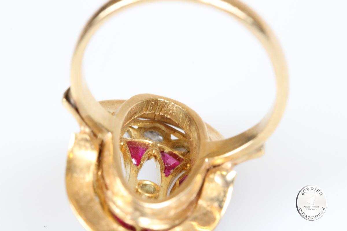 Ring 18 Karat Gold Diamant Rubin Schmuckring Goldring Damenring antik
