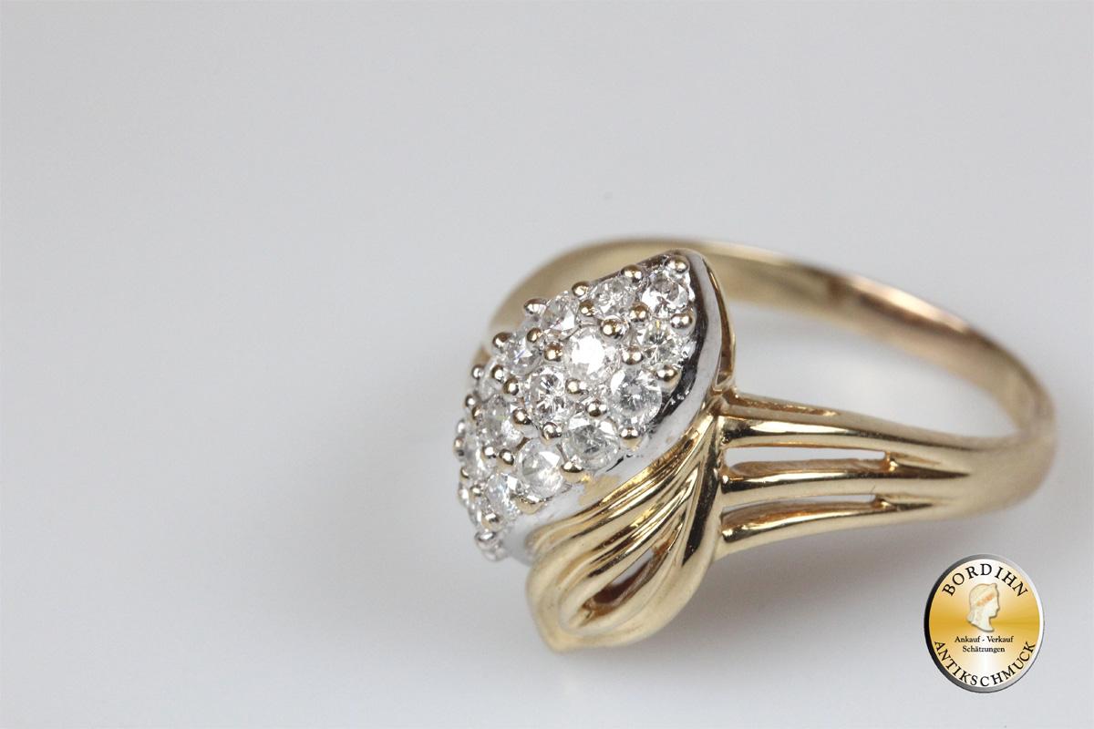 Ring; 14 Karat Gold mit Brillanten