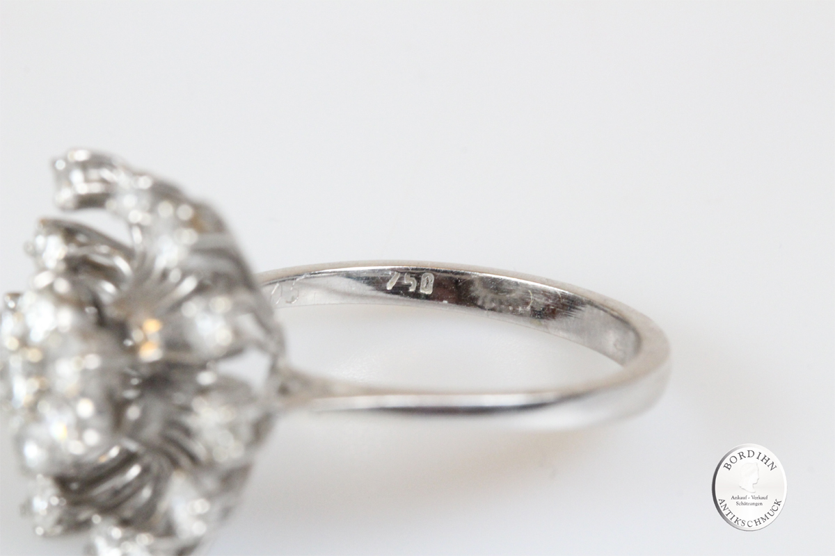 Ring 18 Karat Weißgold Brillanten Goldring Diamanten Schmuck Damen