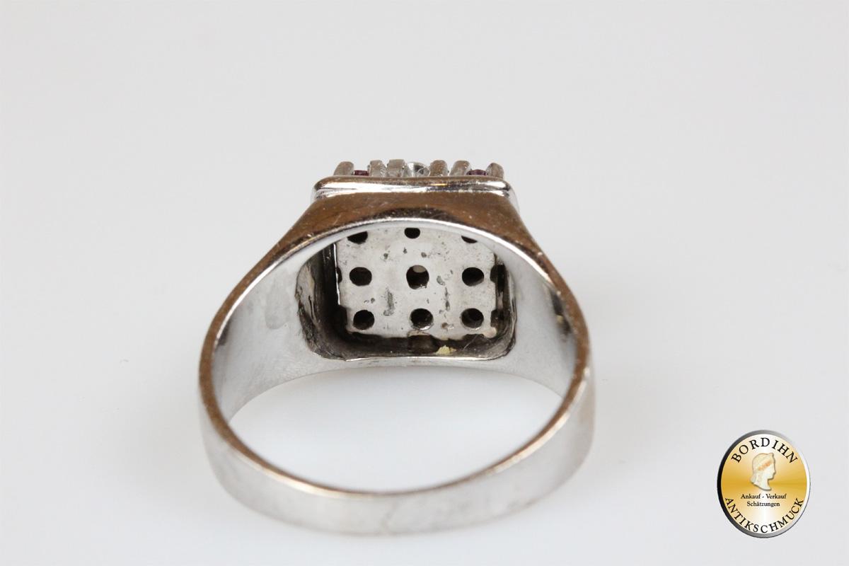 Ring; 14 Karat Gold, mit Rubin Brillant