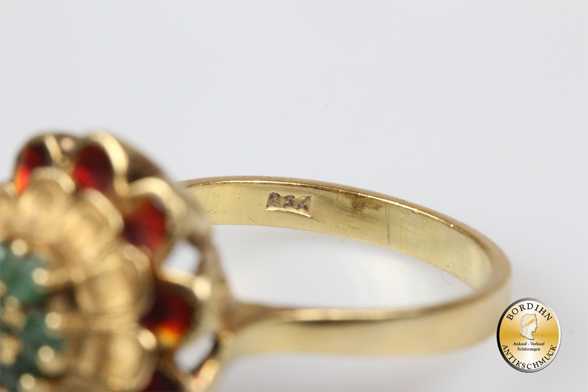 Ring; 18 Karat Gold, Smaragd, Email