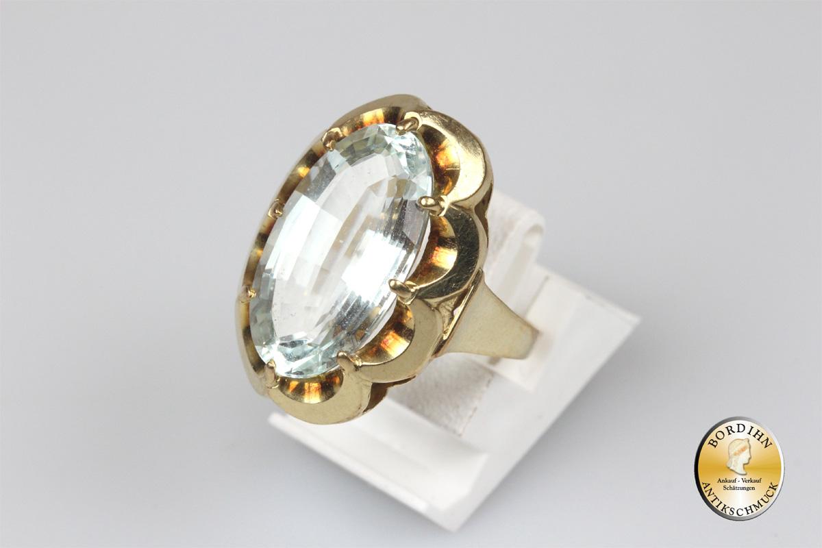 Ring 14 Karat Gold hochwertiger Aquamarin Goldring Schmuckring Damen