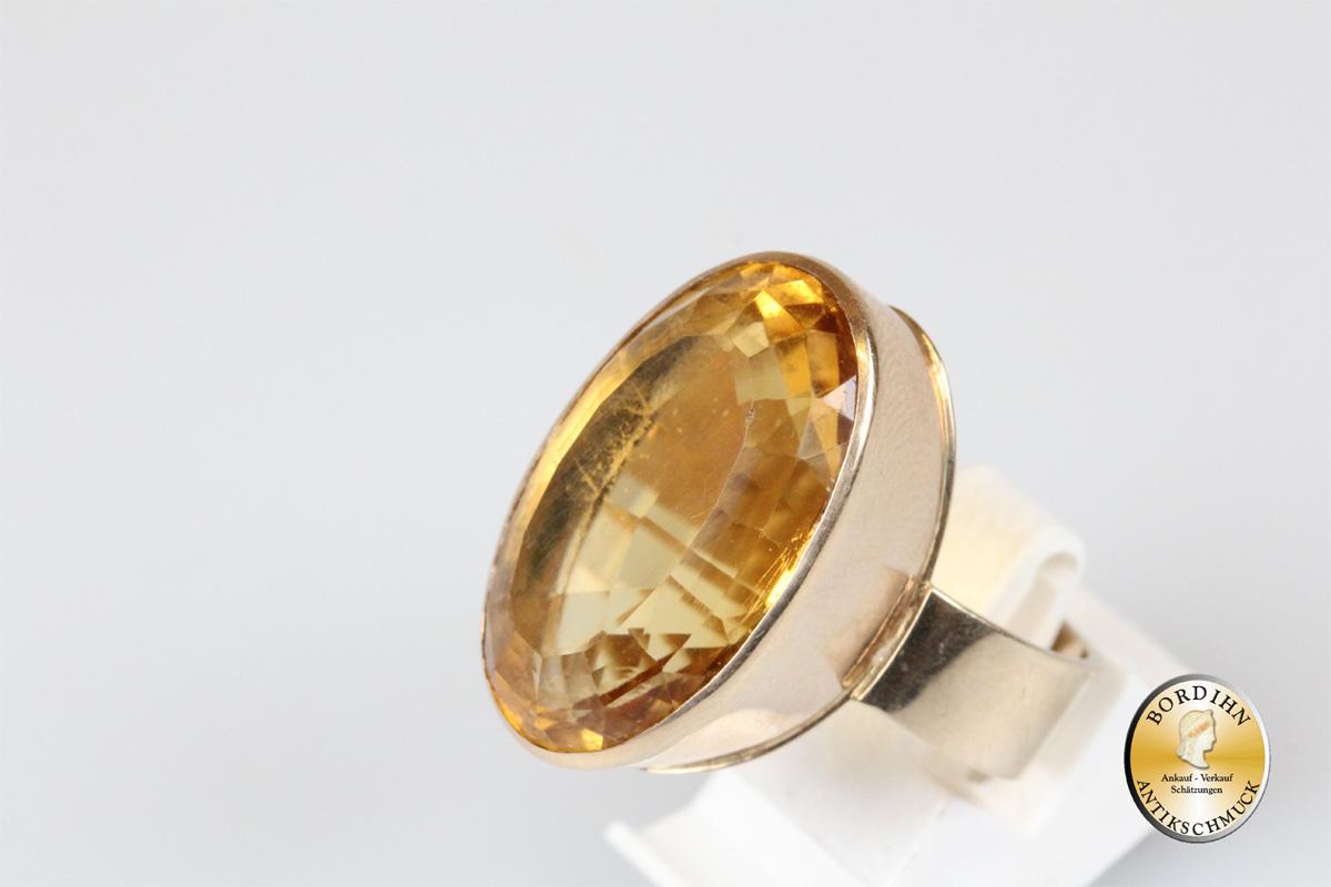 Ring 14 Karat Gold Citrin Goldring Schmuck Fingerring Damen Geschenk