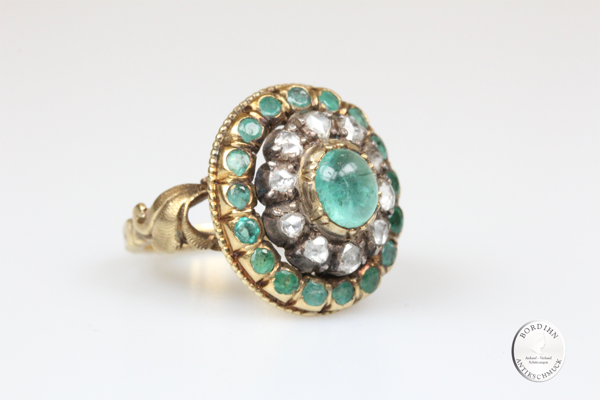 Ring 14 Karat Gold Smaragd Diamanten antik Schmuck Goldring Edelsteine
