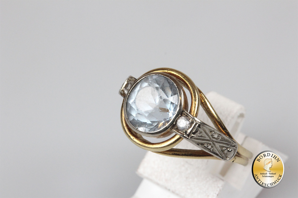 Ring 14 Karat Gold synthetischer Spinell Goldring Schmuckring Damen