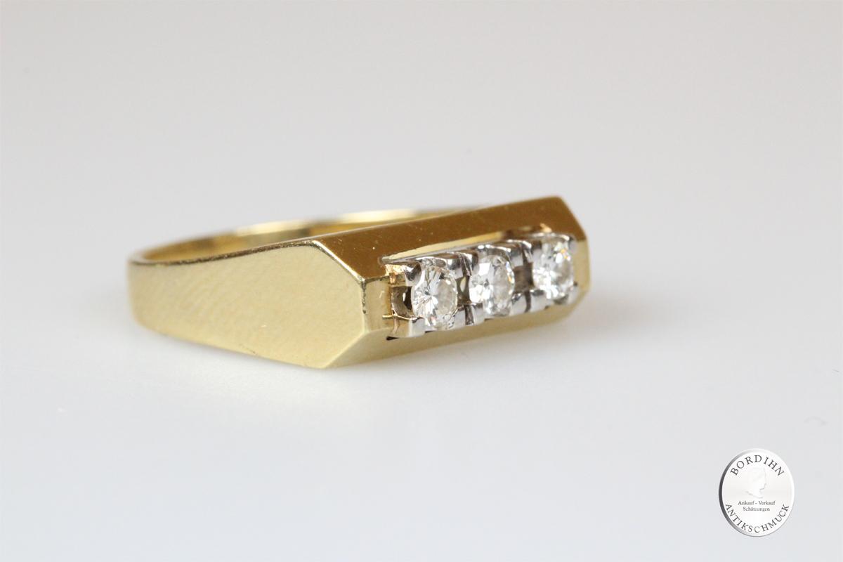 Ring 14 Karat Gold 3 Brillanten Goldring Diamant Schmuckring Geschenk