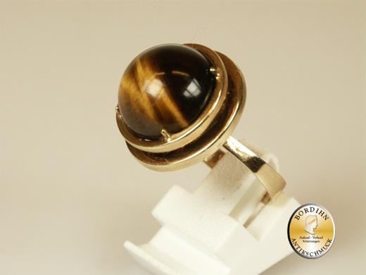 Ring; 14 Karat Gold, Tigerauge (rund)