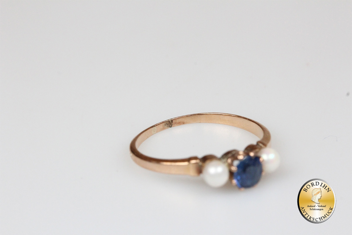 Ring 14 Karat Gold Perlen Farbstein Schmuck Damen Geschenk