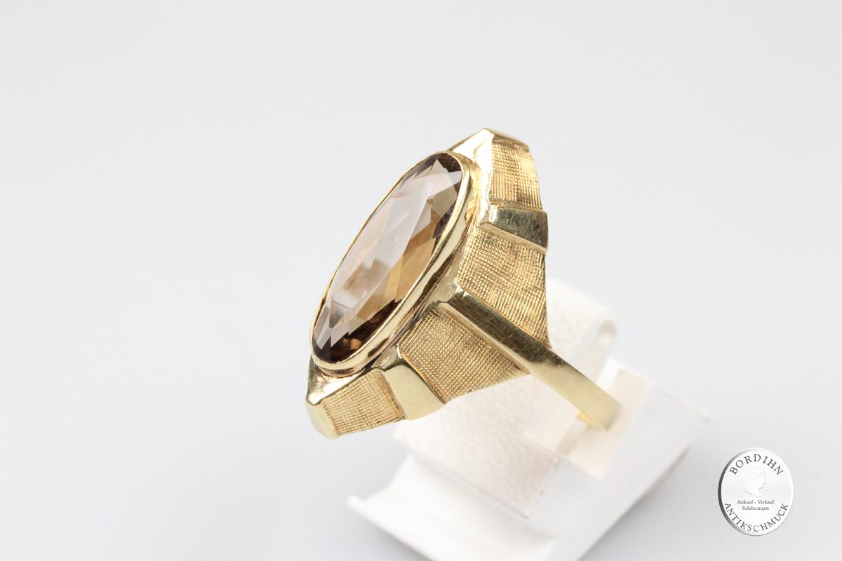 Ring 14 Karat Gold Schiffchen Ring Rauch Topas Fingerring Schmuckring