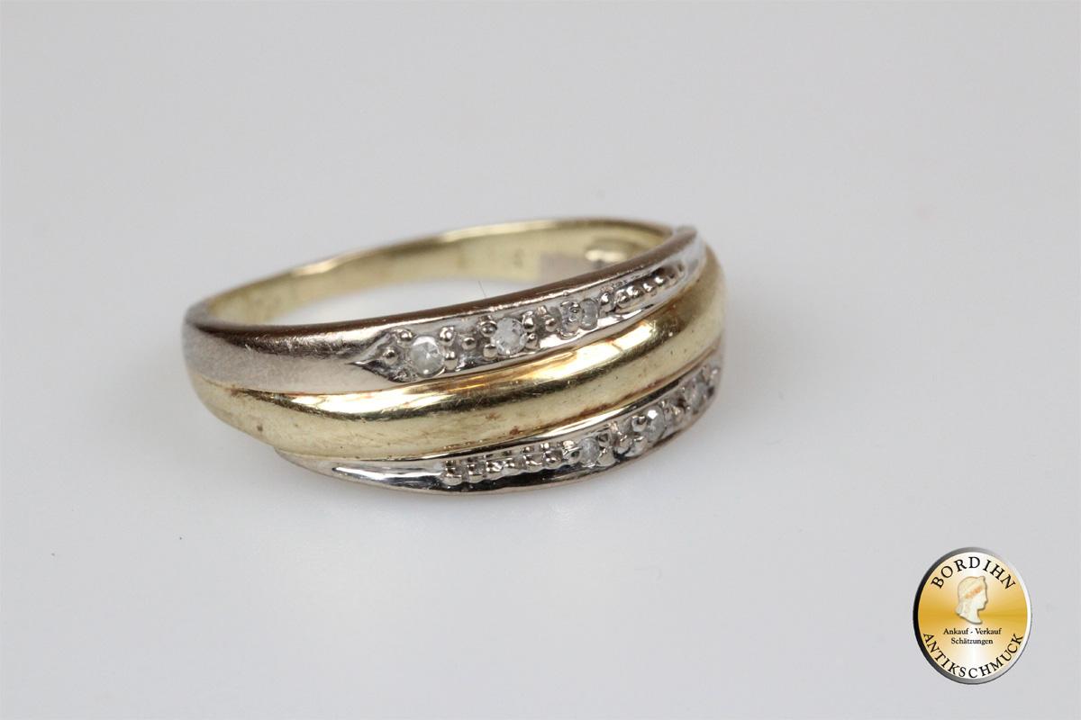 Ring; 14 Karat Gold, mit Brillanten