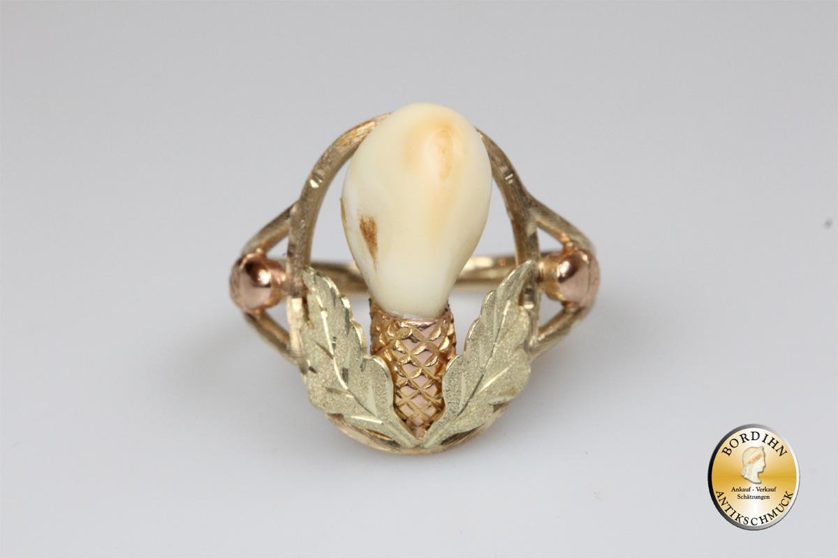 Ring 14 Karat Gold mit Grandel Goldring Damen Trachtenschmuck Schmuck