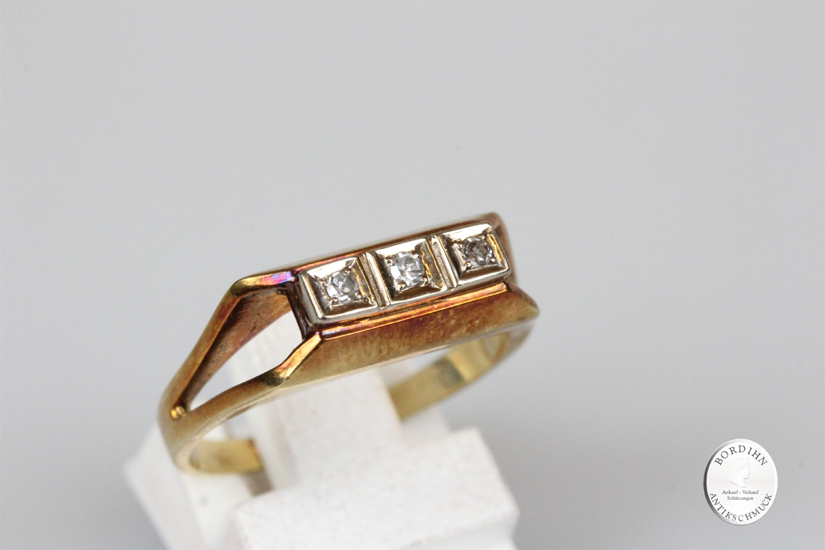 Ring 14 Karat Gold 3 Brillanten Schmuckring Goldring Diamanten antik