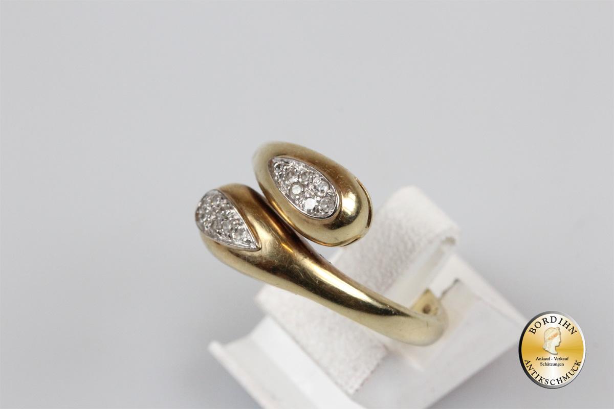 Ring; 14 Karat  Gold, Schlange, Brillanten