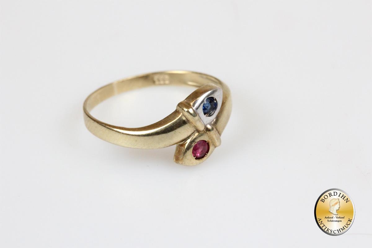 Ring 8 Karat Gold Farbstein Goldring Schmuck Damen Geschenk