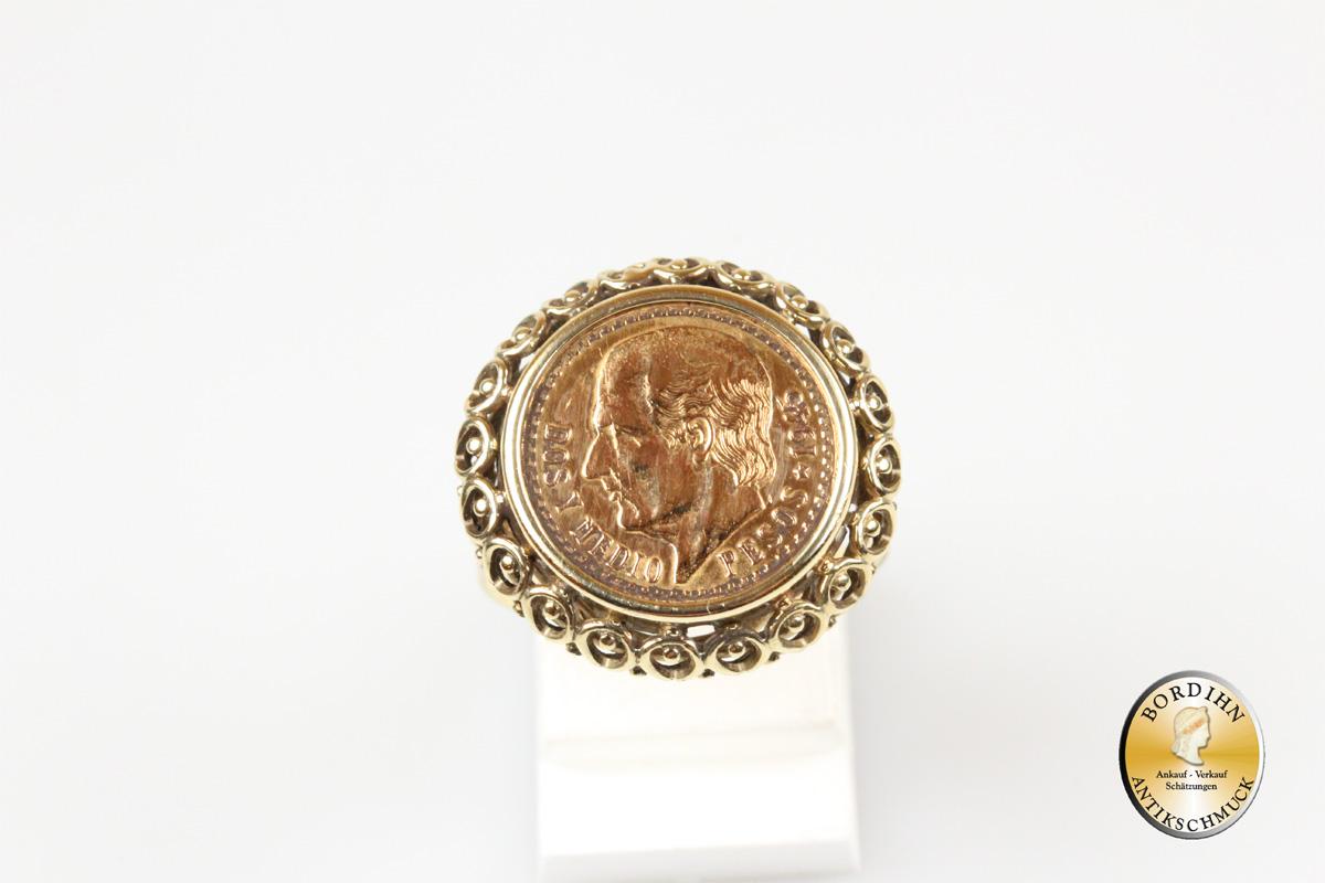 Münzring; 14 Karat Gold, 2,5 Pesos