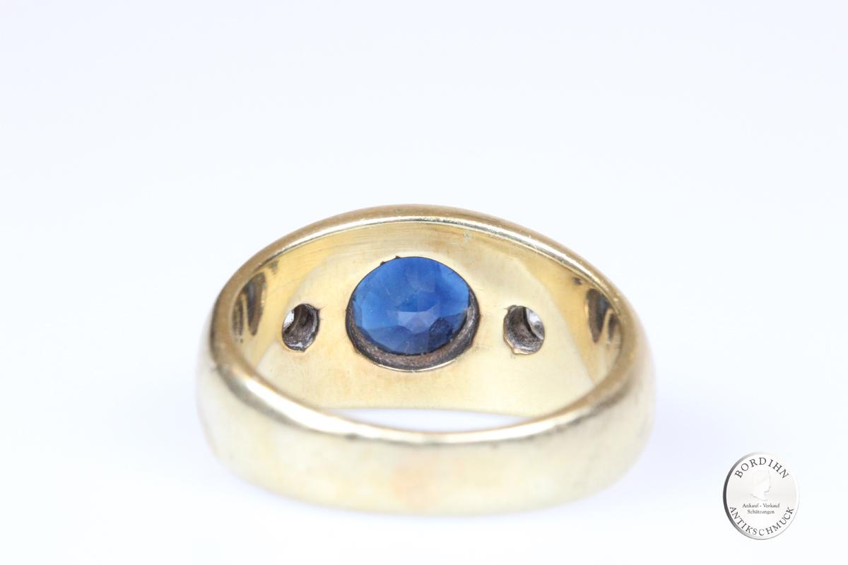 Ring 14 Karat Gold Saphir und Brillanten Bandring Goldring Schmuckring