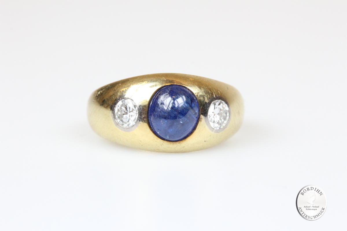 Ring 14 Karat Gold Saphir Brillanten Goldring Edelsteine Schmuckring