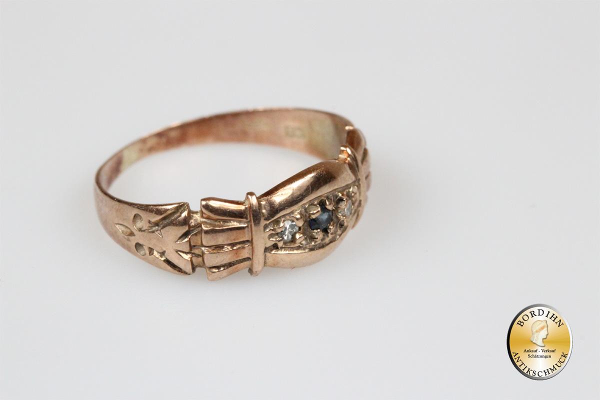 Ring; Diamant, Saphir, 14 Karat Gold