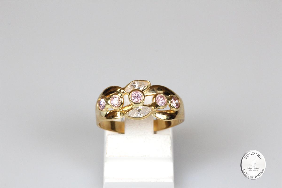 Ring 18 Karat Gold mit Farbsteinen Goldring Schmuck Damen Geschenk