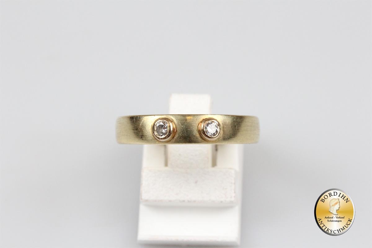 Ring 14 Karat Gold zwei Brillanten Brillantring Schmuckring Goldring