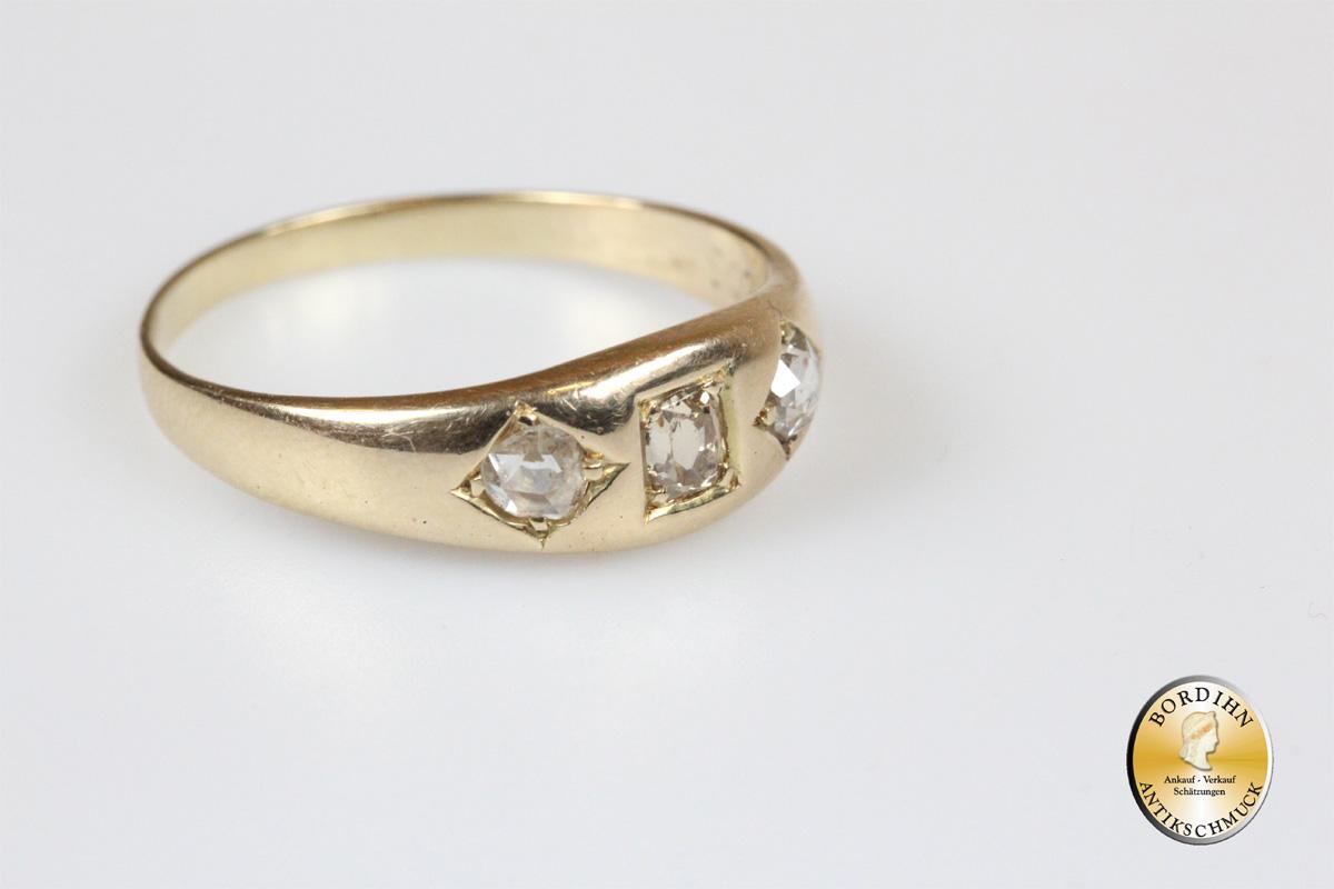 Ring 14 Karat Gold 3 Diamanten Goldring Frauen Geschenk Brillantring