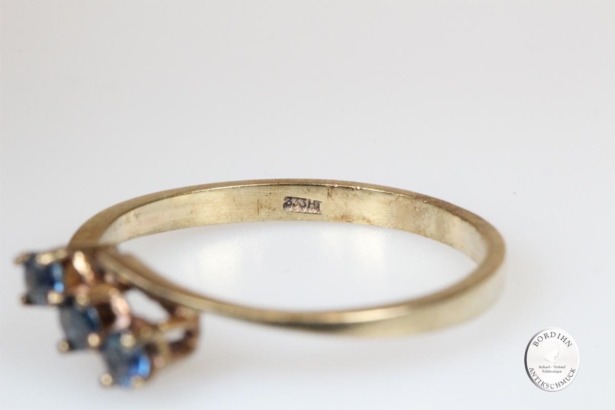 Ring 8 Karat Gold blaue Farbsteine Goldring Schmuck Damen Geschenk